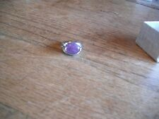 New Silver Plated Natural Amethyst Stone Size 7 Ring In Box
