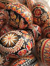 "Czech Traditional Easter Egg ""Kraslice"" (Europe)-Chicken Egg-red/orange/black"