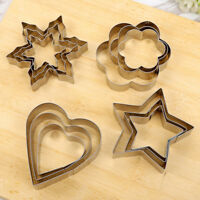 3x Stainless Steel Fondant Biscuit Pastry Cookie Cutter Cake Baking Mold Tool BE