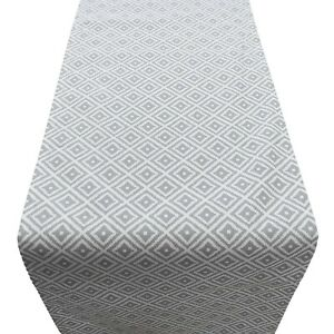 Scandi Style Ikat Geometric Print Table Runner. Dove Grey and White. Two sizes.