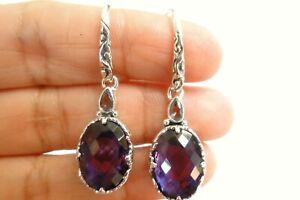 Amethyst Blue Topaz Two Stone Ornate 925 Sterling Silver Dangle Drop Earrings