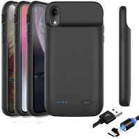For iPhone X XR XS Max Portable Battery Case Cover Charger & Lightning Cable