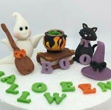 Halloween Ghost Broom Cat Witch's Cauldron Edible Handmade Cake Topper
