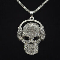Skull Style Jewelry Sweater Chain Necklace Rhinestone Pendant Women