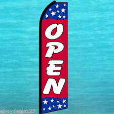OPEN RWB FLUTTER FEATHER FLAG Swooper Tall Advertising Sign Bow Banner 25-1432