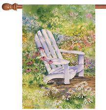 New listing New Toland - Sitting Pretty - Cute Spring Adirondack Flower House Flag