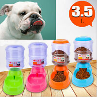 Portable 3.5L Automatic Pet Food Drink Dispenser Dog Cat Feeder Water Bowl Dish