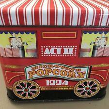 Popcorn ACT II Microwave Red Stripe Carnival Wagon TIN 1994 5x5 1/2 Inch