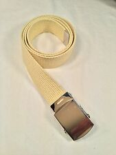 "New, Men's Light Yellow Cotton Web Belt, 1.25"" X 42"", Made in the USA"