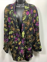Young Edwardian Womans One Button Cardigan Blazer Black Floral Size Medium