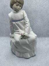 Vintage Enrique G Nadal Porcelain Figurine Girl Holding A Rose Made In Spain