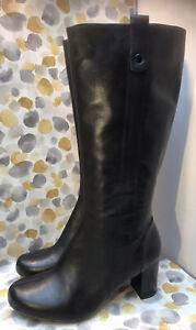 CLARKS LADIES BLACK KNEE HIGH CLASSIC BOOTS SIZE 7.5 Uk 40.5 EUR