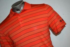 26002-a Mens Under Armour Golf Polo Shirt Size Medium Orange Striped Polyester