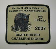 2007 ONTARIO MNR BEAR HUNTING PATCH moose,deer,elk,hunter,canadian,patches,badge