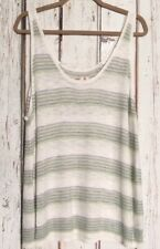 XXL/1X/2X White Blue Green Cotton Striped Knitted Tank Top Knit Stretchy
