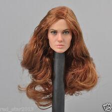 CGL 1:6 Scale Angelina Jolie Head Sculpt Brown Hair Head Model F 12'' HT Body
