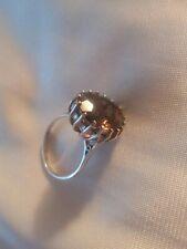 Stunning Smokey Quartz Sterling Silver Fully Hallmarked Vintage Dress Ring