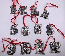 12 Days of Christmas Silver Metal Ornament Holiday Tree Decoration Set Red Ribbo