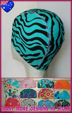Adults LYCRA SWIMMING CAP - AQUA ZEBRA STRIPES Design Swim Hat ADULT - New