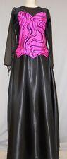BLACK VELVET-FLOCKED SWIRL DESIGN ON HOT PINK STAGE COSTUME--#3 SIZE LARGE