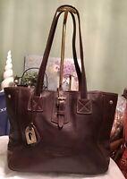 Dooney Bourke Leather Shopper Tote Shoulder Bag BROWN Snap Sides Duck FOB