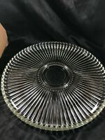 Vintage Clear Depressions Glass Ribbed Ray Pizza Platter 15""