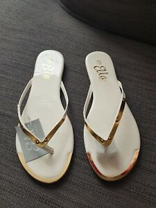 ELLA BLACK TOE POST FLIP FLOPS WITH GOLD TRIM White Sizes 37, 38, 39, 41
