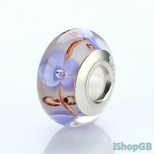 High Quality Silver Plated 925 Flower Murano Glass Bead Charm Fitted Bracelet