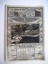 1920 WWI Calendar for Month Dec.1920 w/ US Army School of Aerial Photography *