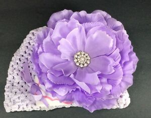 Mud Pie Baby Purple Mesh Jeweled Flower Hat NWT One Size Fits Most