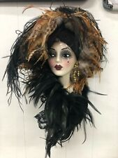 Unique Creations Lady Mask Signed Numbered Black head wrap black tan feathers