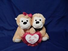 """Valentine Plush Baby Monkey Couple With """"I Love You"""" Heart Soft & Very Cute!"""