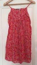 Zara Red Floral Print Cotton dress Tiny Pleats On Front  size M