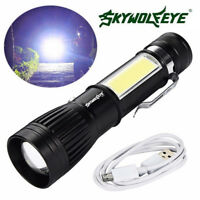 Zoomable Flashlight XM-L T6 + COB LED Penlight Torch USB Rechargeable Lamp US
