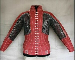 Medieval Gambeson With Chainmail Reenactment Roman Red Color armor