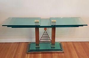 VINTAGE 70's ATTRIB. ARTE FONTANA CHROME & GOLD w/ LAYERED GLASS CONSOLE TABLE