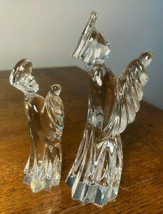 2 Gorham Crystal Nativity Orig Stickers Praying Figurines Crystal Angels Flaws