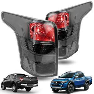 For Mitsubishi L200 Triton 2015 2018 Set Smoke Lens Tail Lamp Lights Bulbs Black