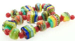 OliveStuart Handmade Lampwork Beads 13 multi colored round/tiles