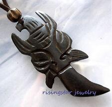 Cool Mythology God TIKI Dagger Genuine Yak Bone Hand Carved Amulet Necklace