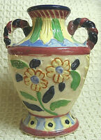 "Vintage Moriyama 6"" Floral Vase Double Handles Ceramic Made in Japan"