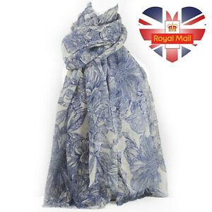 Womens Long Floral Flowers Summer Print Scarf Light Soft Scarves Shawl