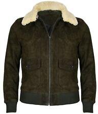 Mens Green Removable Collar Suede Leather Varsity Aviator Bomber Vintage Jacket