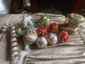 Lot of 10 Vintage Retro Handmade Beaded Satin Sequin Push Pin Xmas Ornaments