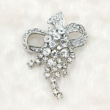 New Women Sparkling Clear Glass Rhinestone & Silver Tone Pin Brooches Jewellery