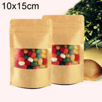 25x Kraft paper zipper gift bags birthday wedding party favour lolly bag 10x15cm