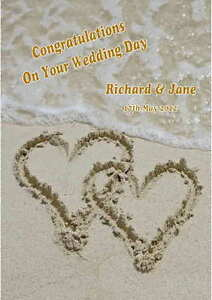 Personalised Beach / Abroad Wedding Day Congratulations Card