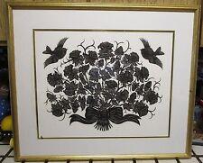 """Original  Cut Paper Art Roses & Birds  Huge 24"""" x 28"""" Scherenschnitte Wucinanke"""