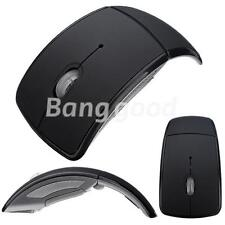 Black Foldable Folding Arc Wireless Optical Mouse+USB 2.4G Snap-in Receiver Gift