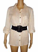 Michael Kors Blouse Top Basics Button Down Shirt Sz 8 Dune NEW Logo Buttons $110